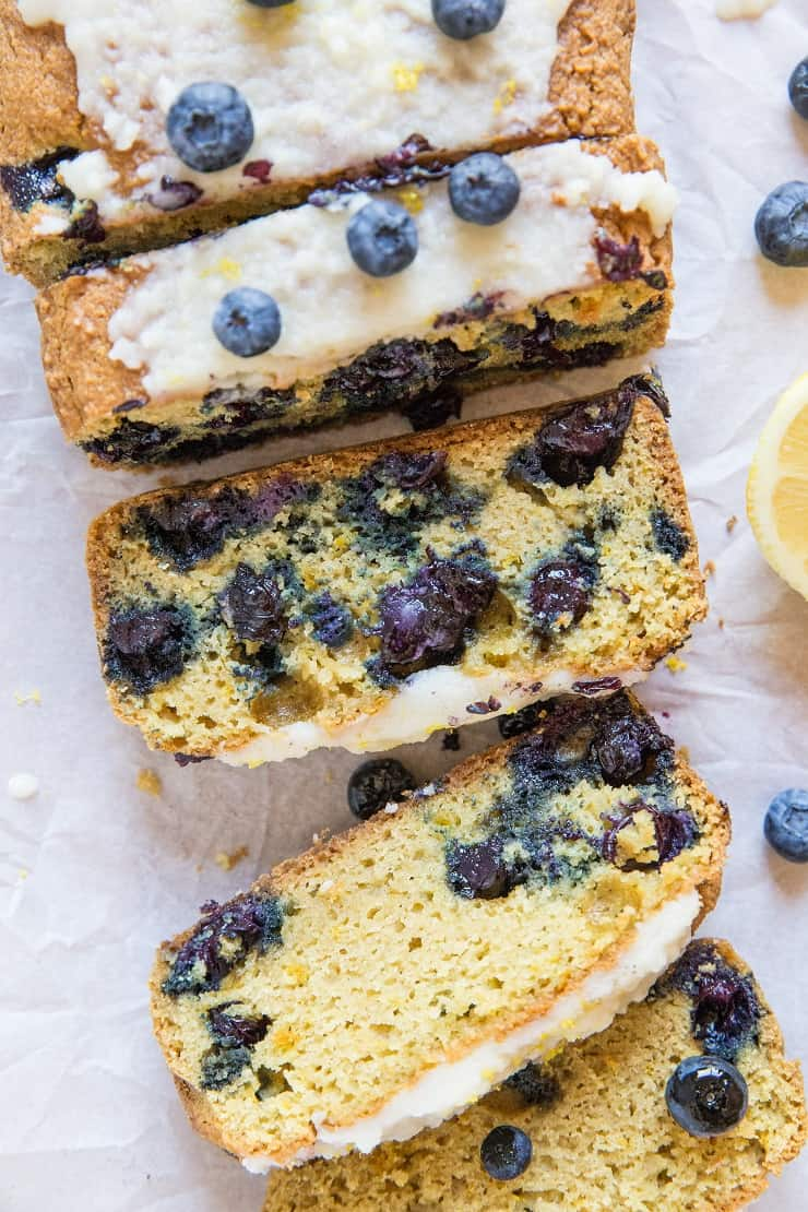 Paleo Lemon Blueberry Bread with coconut flour, tapioca flour and pure maple syrup - dairy-free, gluten-free, healthy blueberry bread recipe