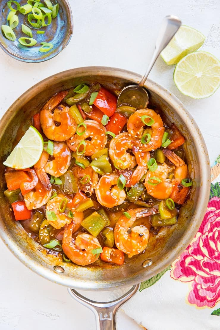 Healthy Sweet and Sour Shrimp Recipe made without soy or refined sugar. Paleo, quick and easy to make, delicious!