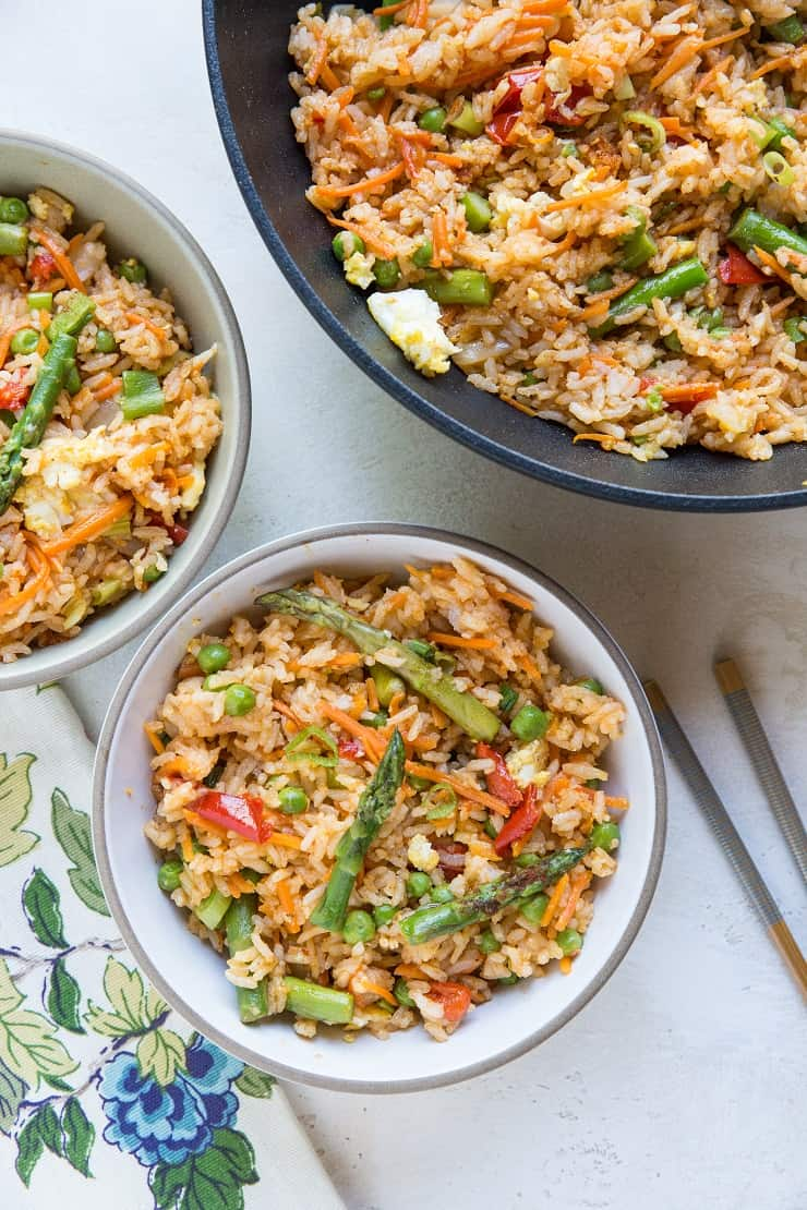 Thai Red Curry Fried Rice with Vegetables - asparagus, bell pepper, peas, and more!