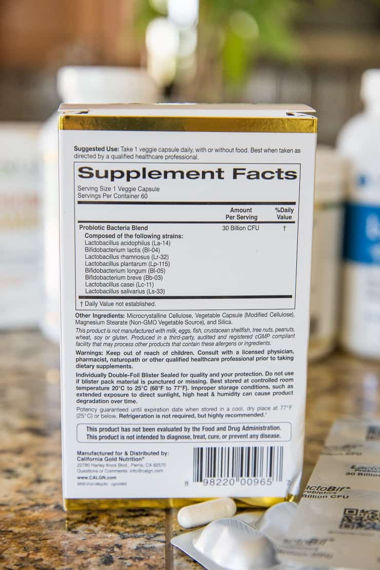 Probiotics and supplements for gut health