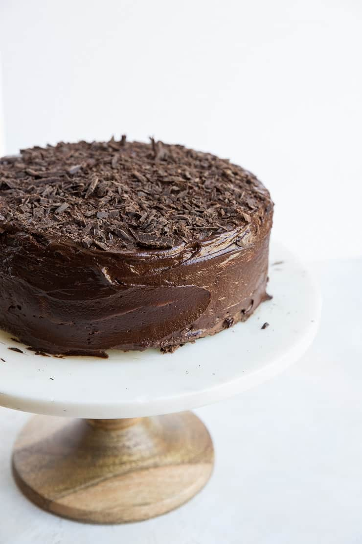 Rich, decadent gluten-free chocolate cake with chocolate buttercream and chocolate ganache