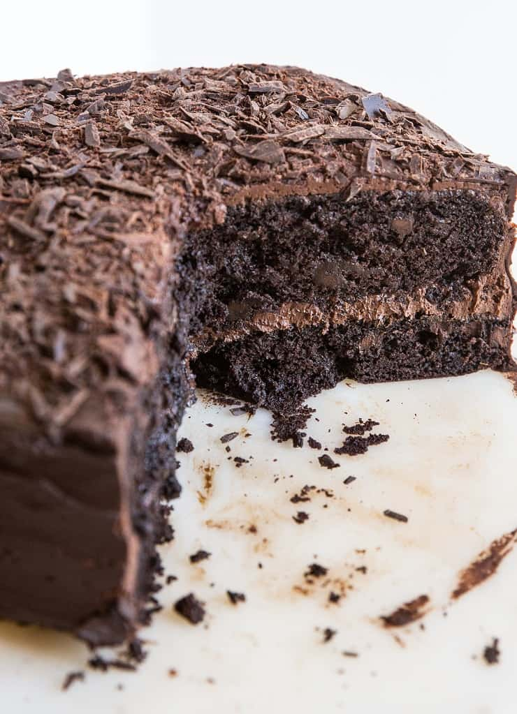 Insanely rich and delicious gluten-free chocolate cake made with no dairy or refined sugar