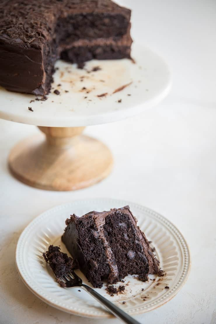 The Best Gluten-Free Chocolate Cake - refined sugar-free, dairy-free, super moist and decadent! A death by chocolate cake recipe