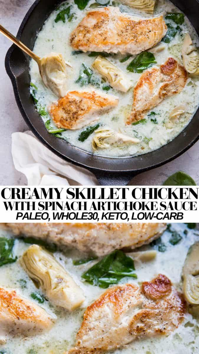 Creamy Chicken with Spinach Artichoke Sauce - an easy, healthy dinner recipe that is paleo, keto, whole30 and delicious! #glutenfree #grainfree #dairyfree #healthyrecipe #chickenrecipe #keto #paleo #lowcarb