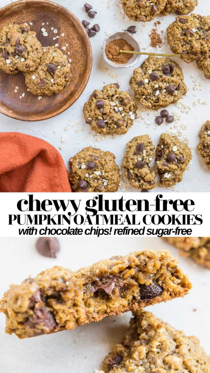 Chocolate Chip Gluten-Free Pumpkin Oatmeal Cookies - refined sugar-free, chewy, warmly-spiced healthy cookie recipe!