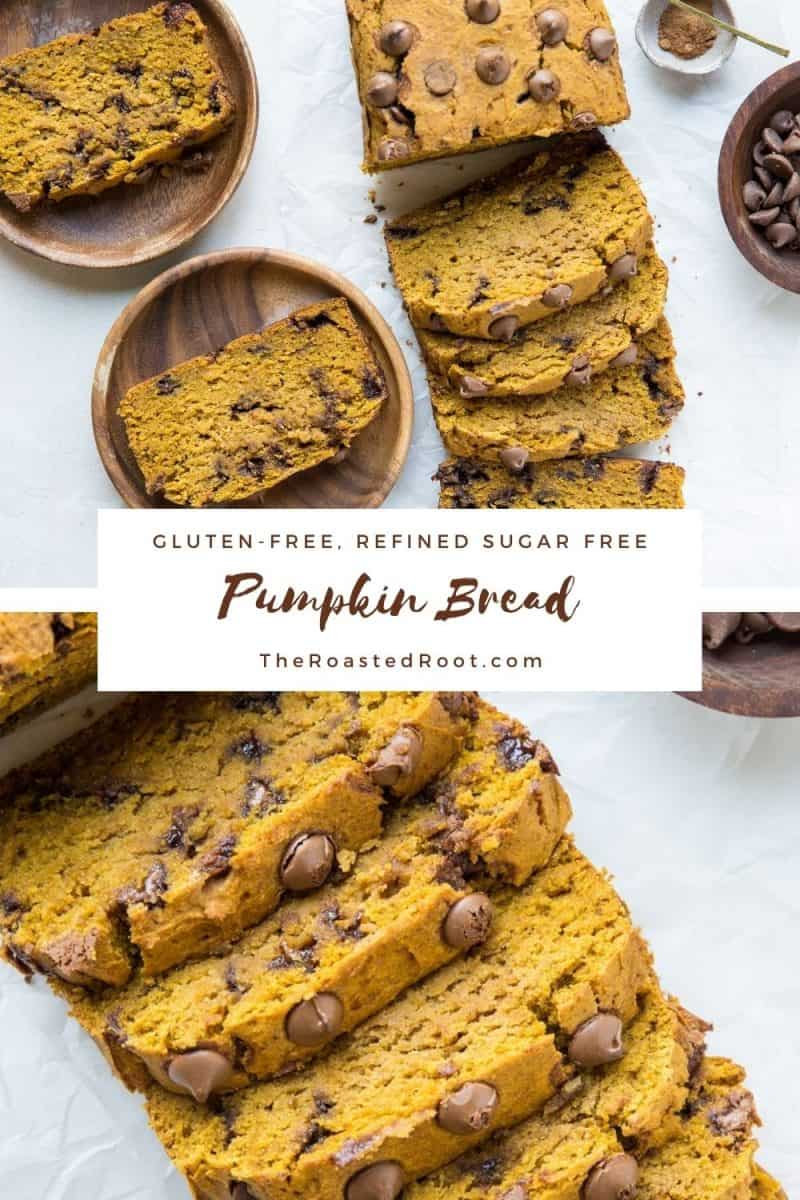 Gluten-Free Pumpkin Bread with Chocolate Chips - refined sugar-free, moist, fluffy, healthy pumpkin bread! Perfect for breakfast or snack