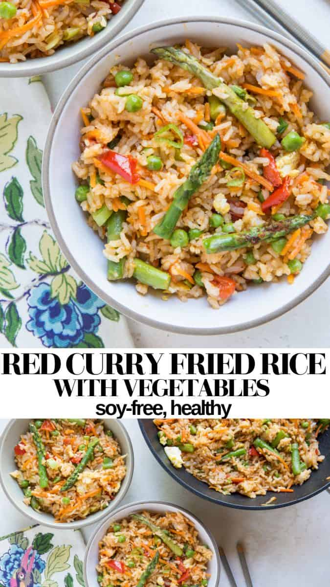 Red Curry Fried Rice with Vegetables - a healthy fried rice recipe that is soy-free, gluten-free, and Thai-Inspired #chinese #chinesefood #sidedish #takeout #healthy #friedrice #thai #glutenfree