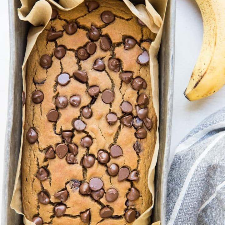 Chickpea Banana Bread - flourless gluten-free banana bread recipe made with garbanzo beans
