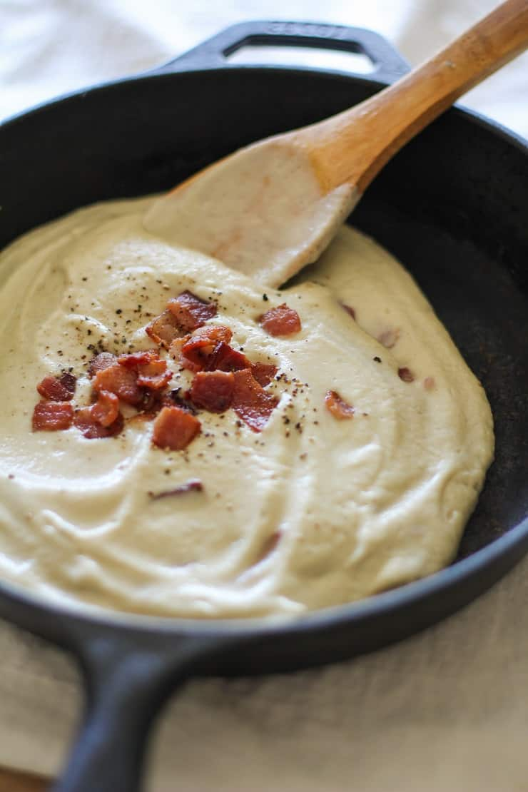 The Best Creamy Cauliflower Sauce to use on EVERYTHING - keto, paleo, whole30, healthy dairy-free
