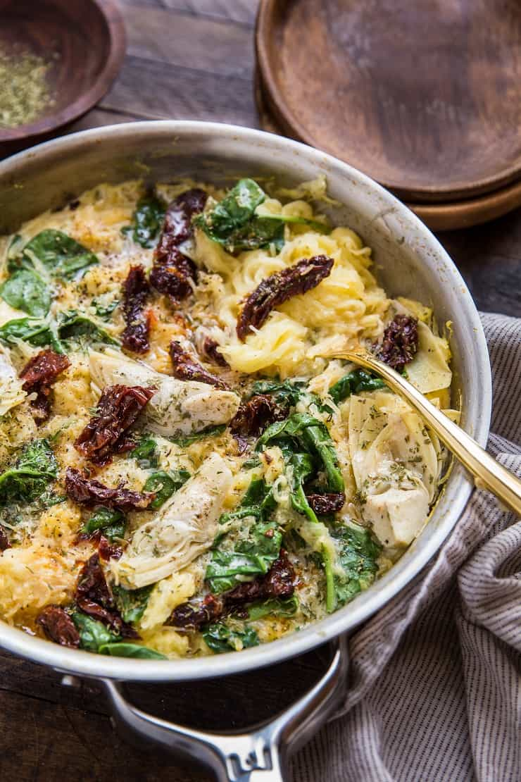 Vegan Creamy Tuscan Spaghetti Squash with Sun-Dried Tomatoes and Spinach - paleo, low-carb, keto healthy side dish or entree