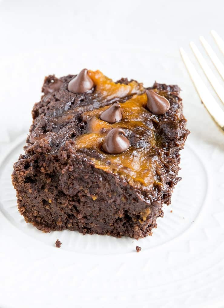 Gluten-Free Pumpkin Swirl Brownies with a paleo grain-free option. Dairy-free, refined sugar-free, fudgy and delicious