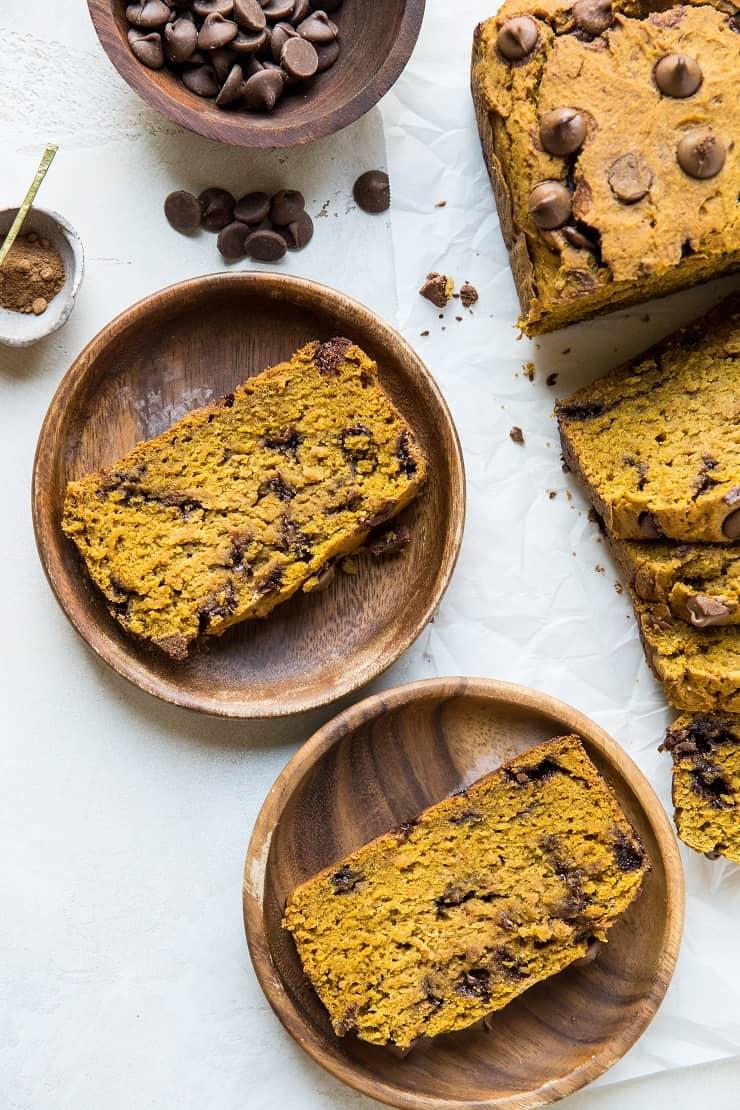Gluten-Free Chocolate Chip Pumpkin Bread - dairy-free, refined sugar-free healthier pumpkin bread recipe