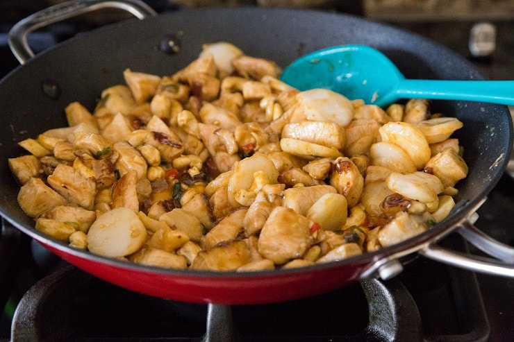 Kung Pao cooking in a skillet