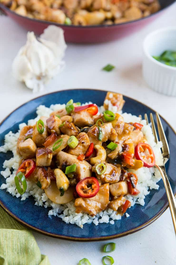 A healthier version of Chinese Kung Pao Chicken made gluten-free, refined sugar-free, and soy-free. Easy to prepare and magically delicious