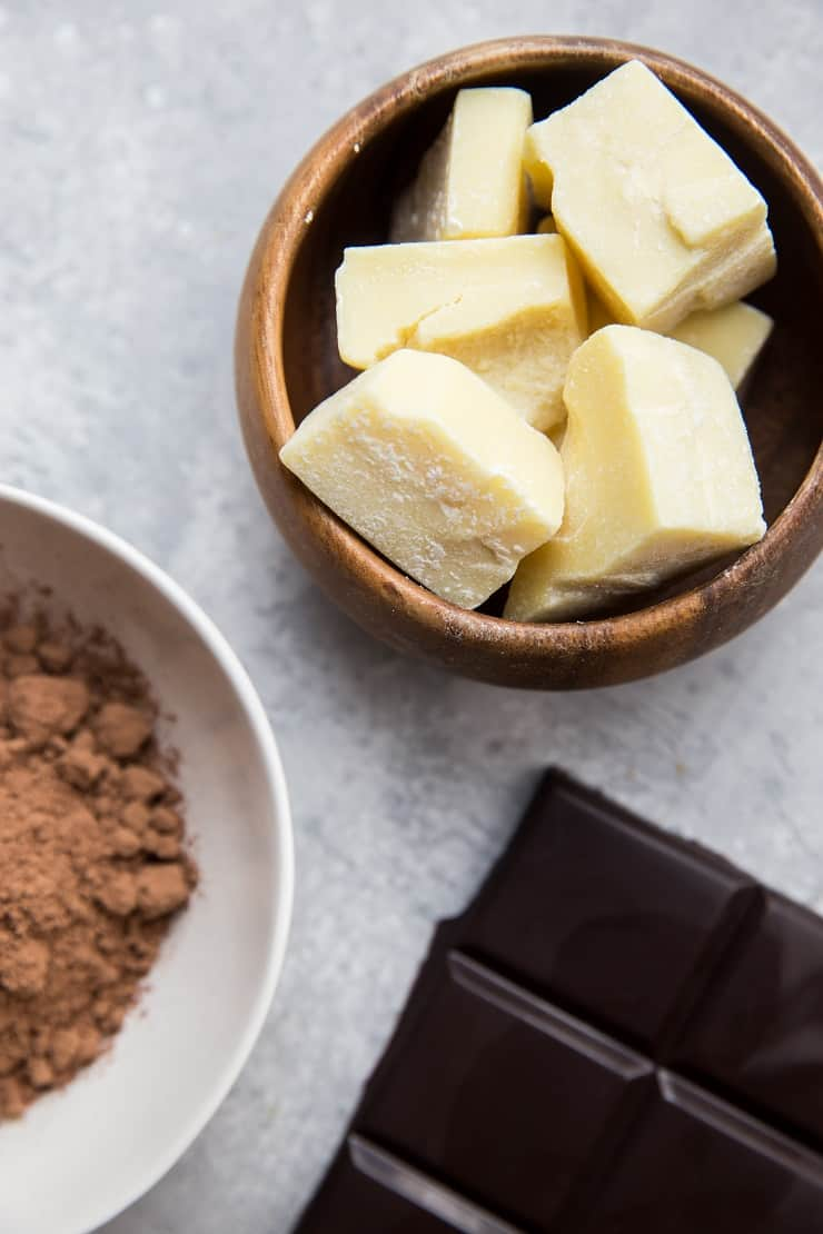 Ingredients for homemade dark chocolate