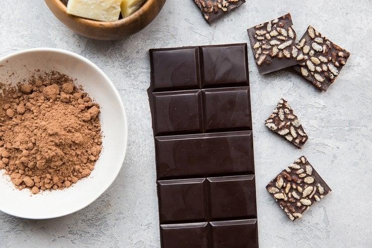 How to Make Chocolate - Homemade dark chocolate bars or milk chocolate bars using cocoa powder. Only a few ingredients needed to make homemade chocolate! Vegan, paleo, dairy-free, lots of sweetener options