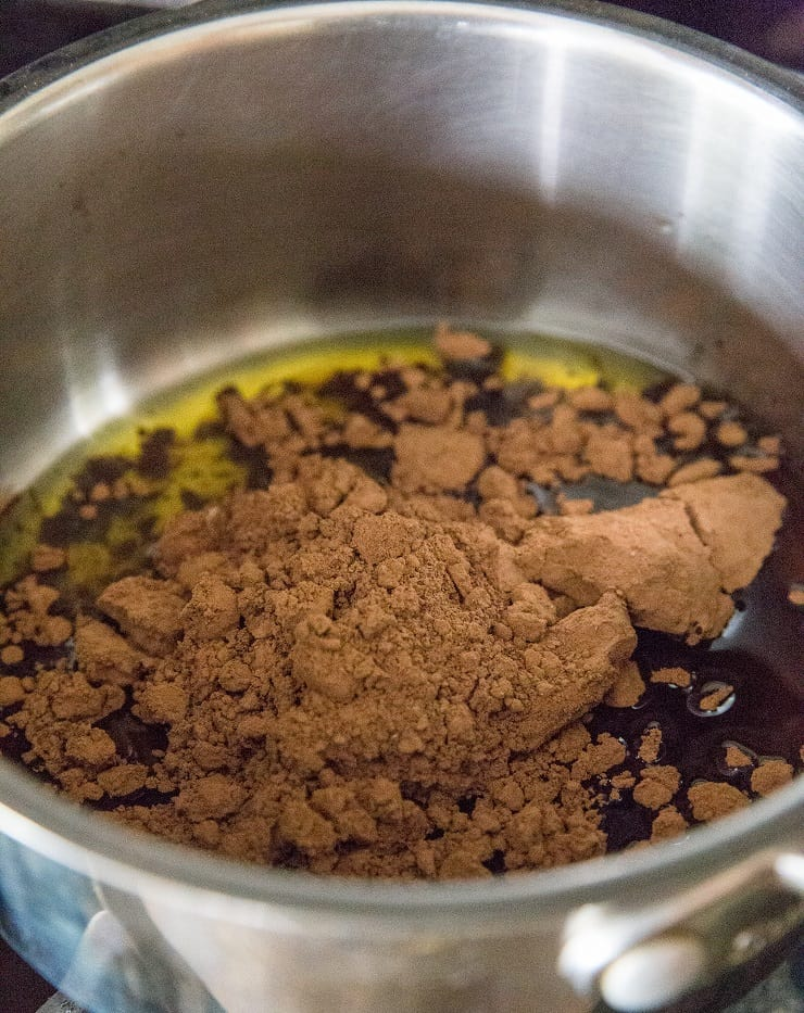 Stir in the cocoa powder for dark chocolate