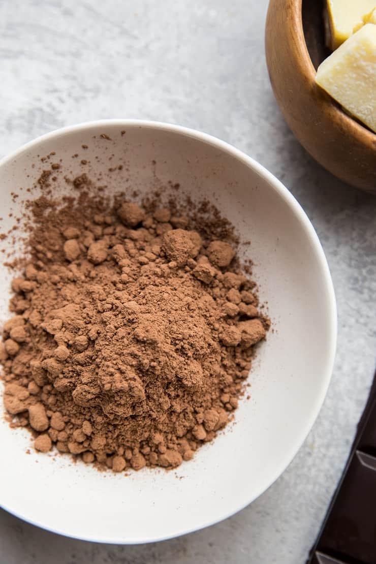 Ingredients for homemade chocolate using cocoa powder
