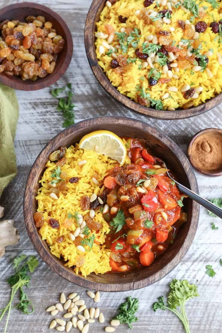 Easy Moroccan Chicken Stew with ginger turmeric aromatic rice. A flavorful healthy dinner recipe
