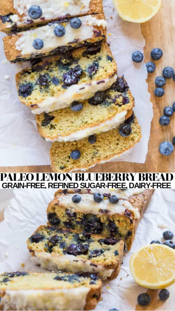 Paleo Lemon Blueberry Bread - grain-free, refined sugar-free, dairy-free quick bread. Perfectly sweet healthy blueberry bread recipe! #glutenfree #quickbread #healthy #lemon #breakfast