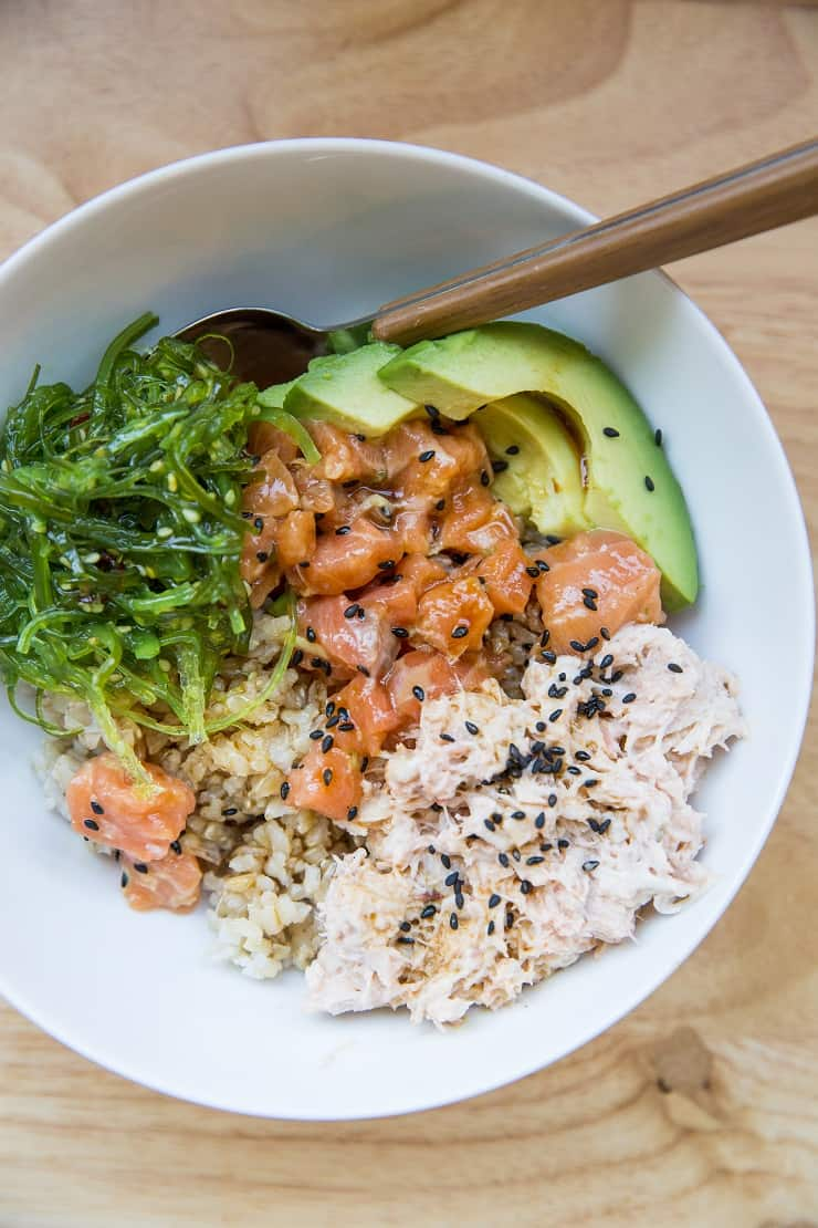 Salmon Poke Bowls with Crab Salad, seaweed salad, and avocado - a nutritious, delightful sushi at home experience
