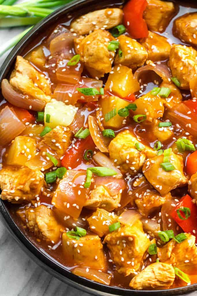 Instant Pot Sweet and Sour Chicken from Whole Kitchen Sink - Whole30 instant pot sweet and sour chicken is so easy and so quick to make. It's completely Paleo, sugar free, gluten free, and made in less 30 minutes. The simplicity of this recipe makes it perfect for a weeknight meal that's family friendly, or for Whole30 meal prep.
