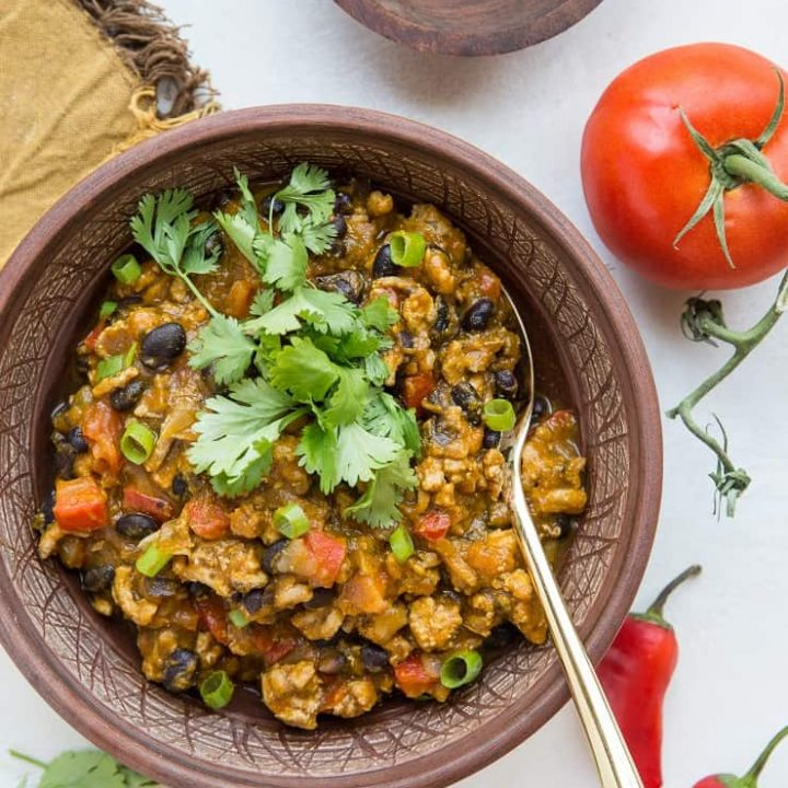 Turkey Pumpkin Chili with Black Beans - a thick, nourishing chili recipe that is quick and easy to prepare. Recipe post includes instructions for Instant Pot and Crock Pot