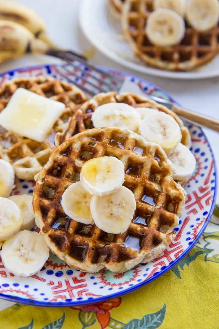 4-Ingredient Paleo Banana Waffles with coconut flour - an easy waffle recipe that is grain-free, dairy-free and delicious