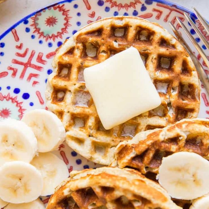 4-Ingredient Banana Waffles made with coconut flour - grain-free, dairy-free, paleo, delicious!