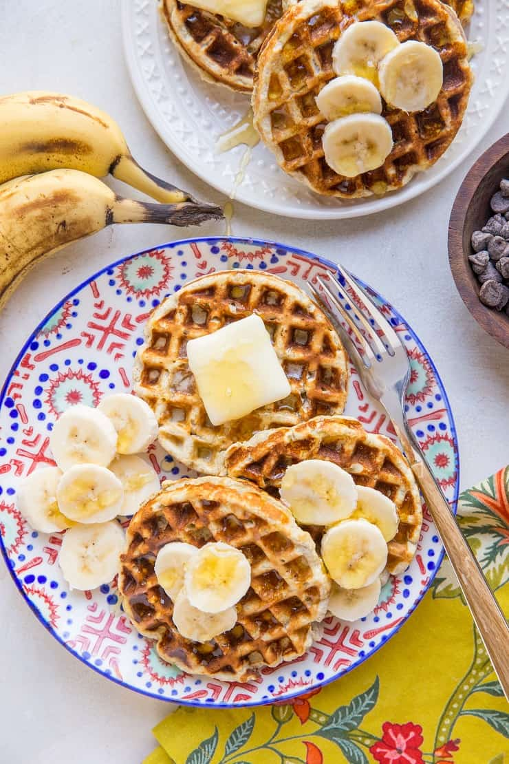 Easy 4-Ingredient Coconut Flour Paleo Banana Waffles - grain-free, dairy-free, oil-free, and easy to make