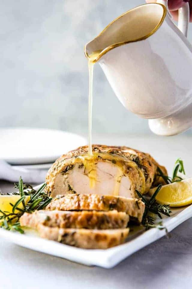 Instant Pot Turkey Breast from Recipes From a Pantry - With this recipe for Instant Pot Turkey Breast with Garlic Butter Gravy you can make moist and juicy turkey and gravy in less than an hour! So easy and so delicious, you will not only want to make this for Thanksgiving but all year long as well.