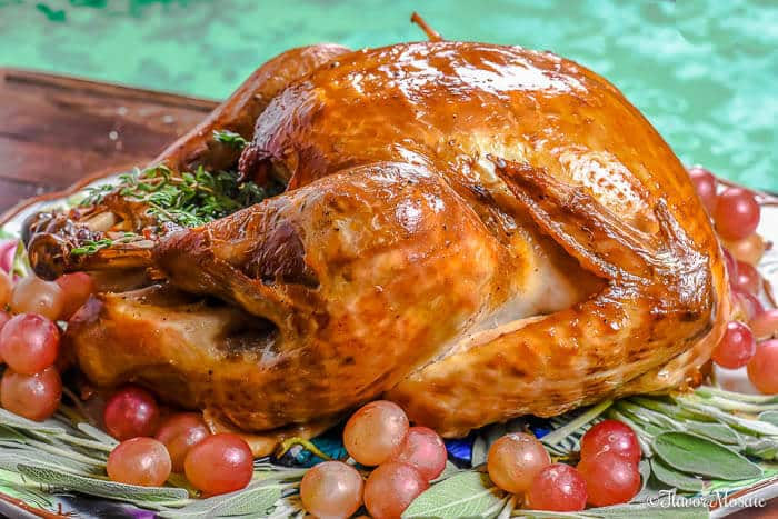 Roast Turkey with Apple Cider Brine from Flavor Mosaic -  The secret to this amazing turkey recipe is the Apple Cider Brine and lots of butter. Bringing the turkey in an apple cider brine, then roasting it with plenty of butter and seasoning results in a delectable texture and tons of flavor.