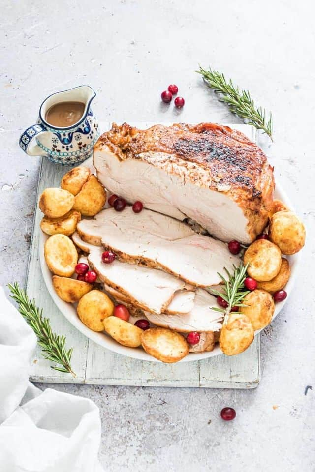 Air Fryer Turkey Breast from Recipes from a Pantry - Air frying a turkey breast results in incredibly moist, juicy turkey, and so easy to make! Perfect for both busy midweek meals and holiday celebrations.