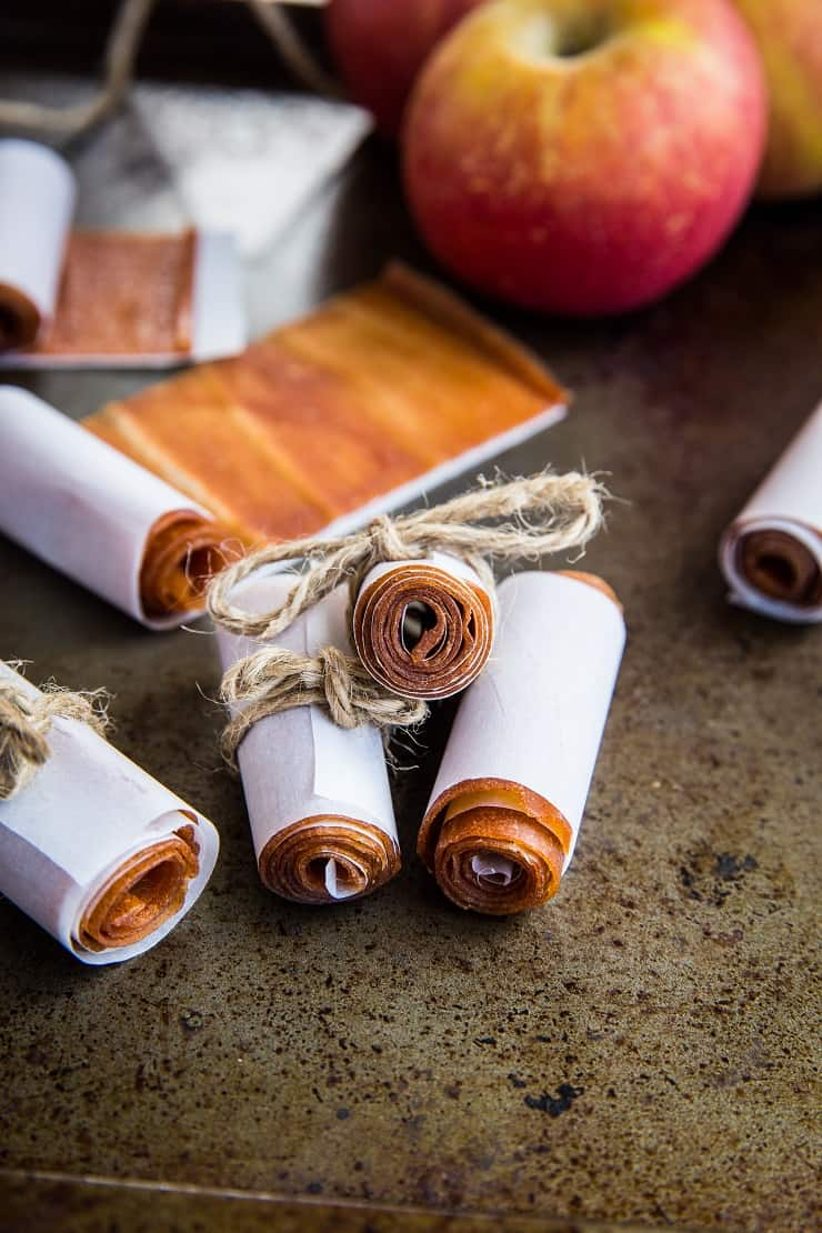 Apple Fruit Leather - a healthy snack or treat using fresh apples. Fun for kids school lunches or afterschool snack