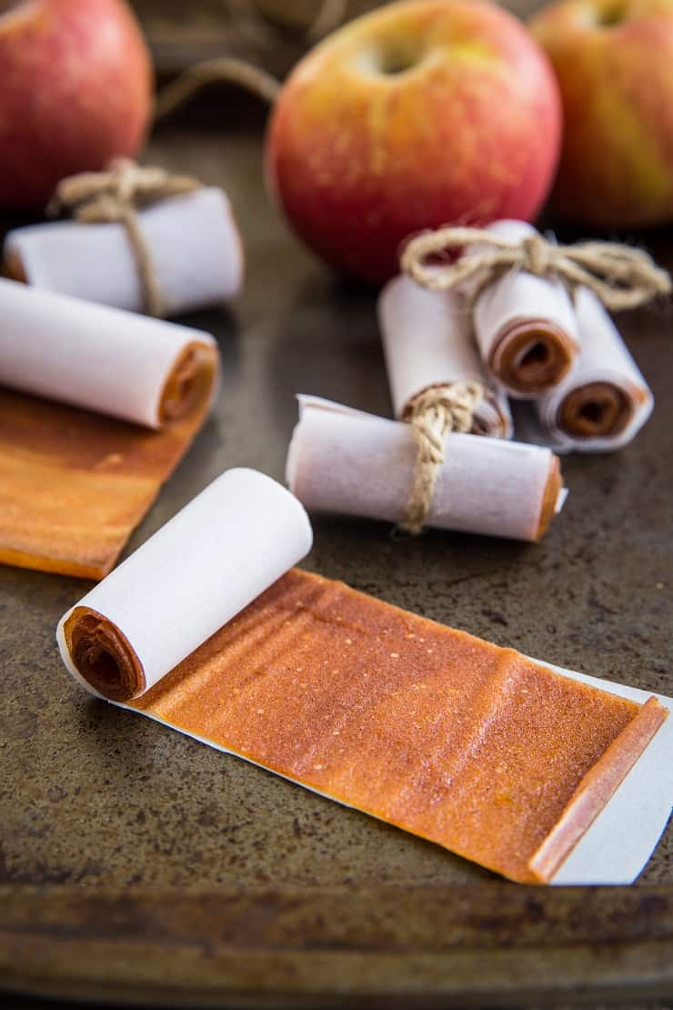 Homemade Fruit Leather using fresh apples (or pears) - all you need is a few ingredients to make healthy homemade fruit roll-ups!