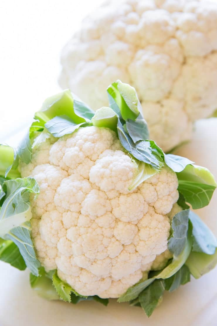 Two heads of cauliflower for casserole