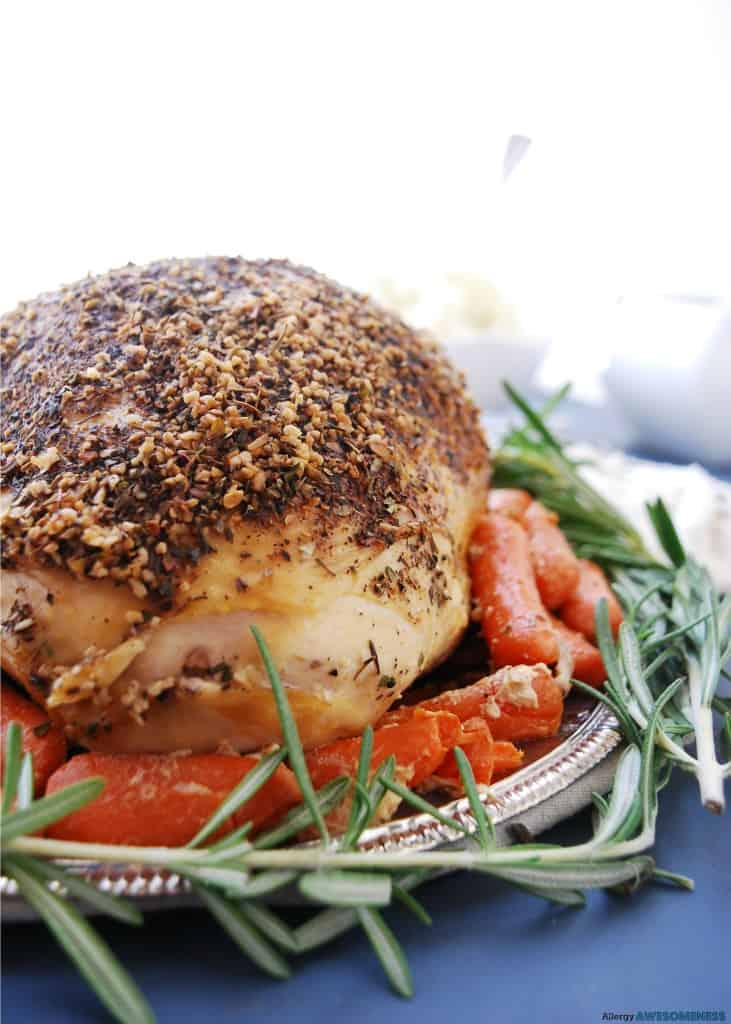 Crock Pot Turkey Breast from Allergy Awesomeness -Thanks to the slow cooker and generous seasonings, this Crock pot Turkey Breast not only makes the main dish for your Thanksgiving, but the amazing juices make the simplest blender onion mushroom gravy.