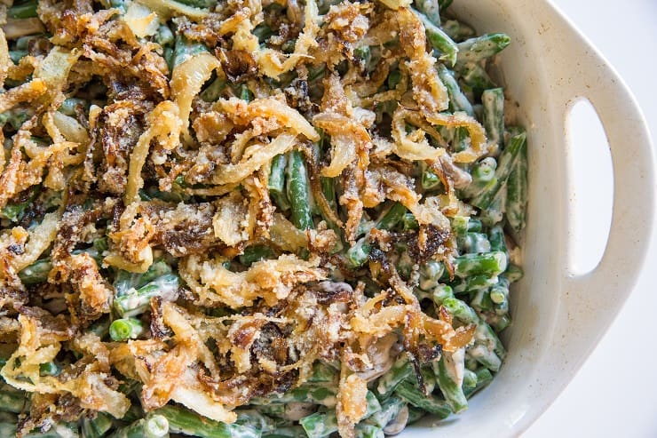 Add the crispy onion topping to casserole