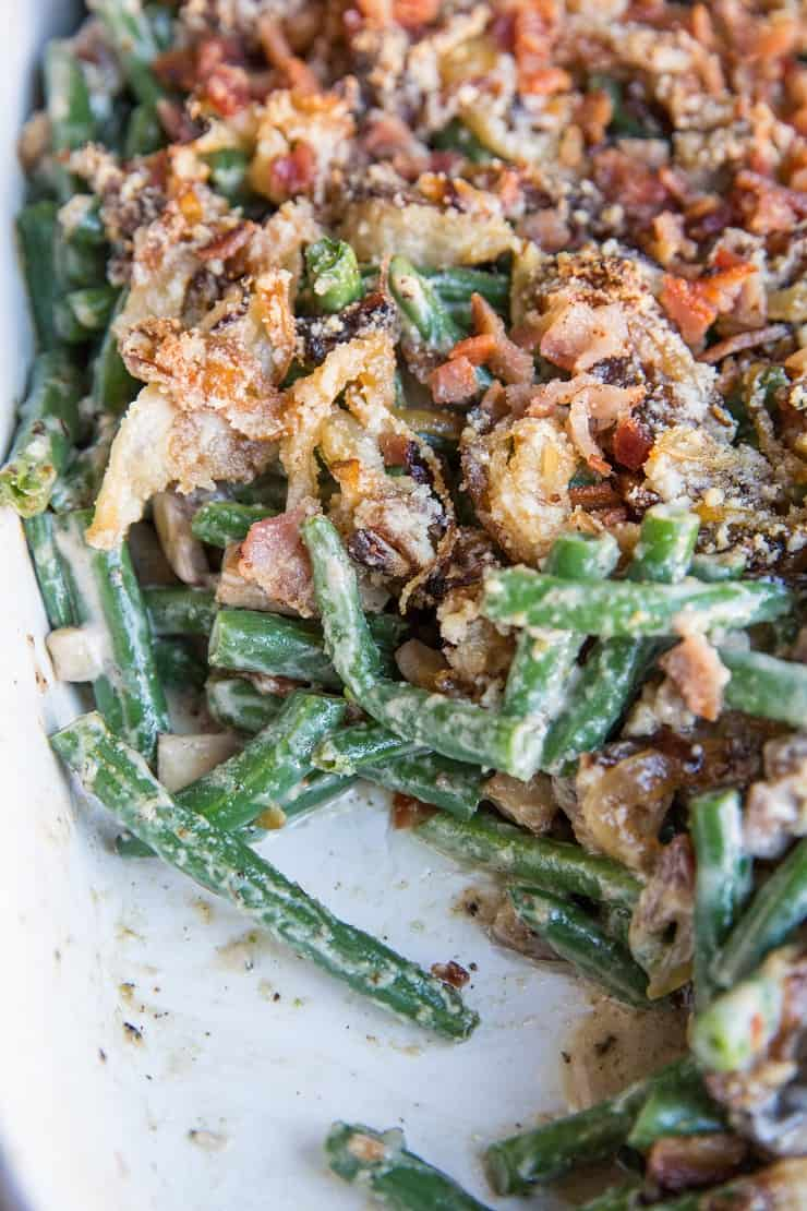 Creamy Dairy-Free Green Bean Casserole with bacon - gluten-free and healthy