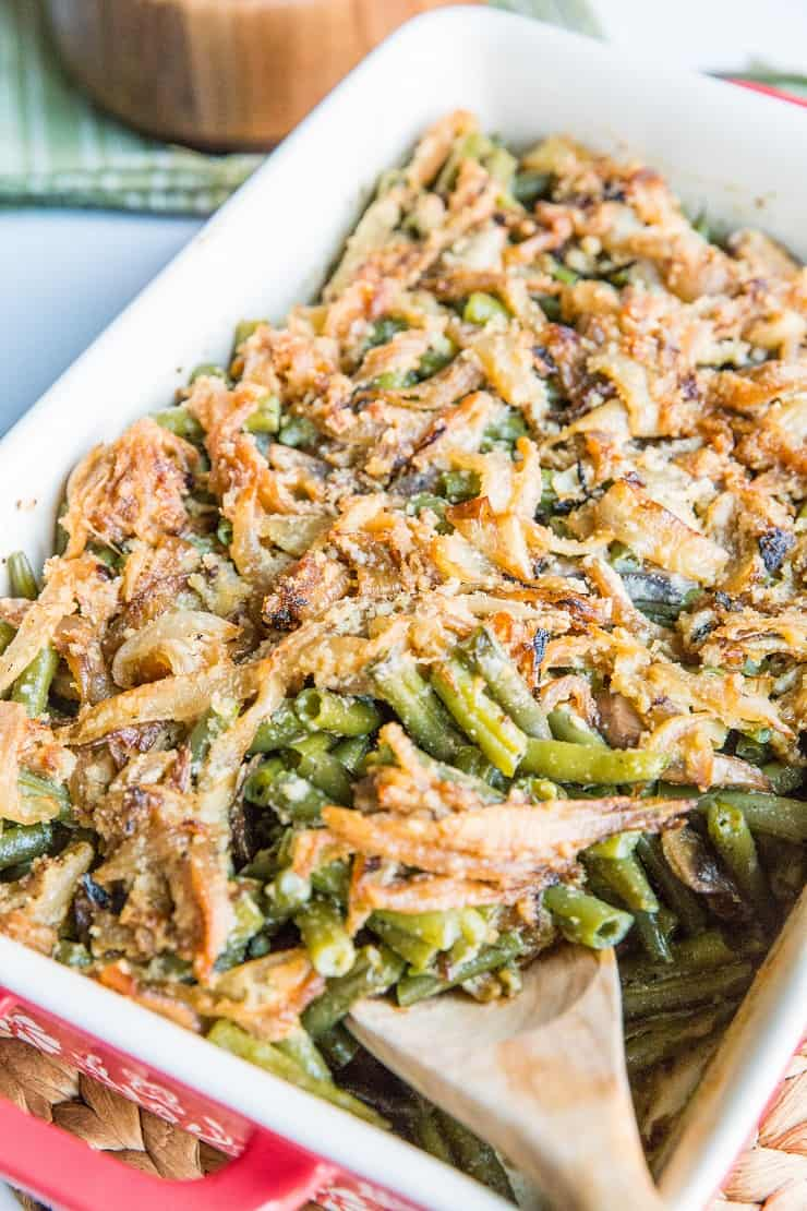 Keto Green Bean Casserole with bacon - gluten-free, dairy-free, and healthy