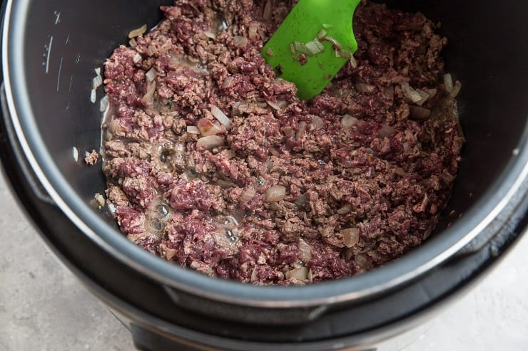 Brown the beef in an instant pot