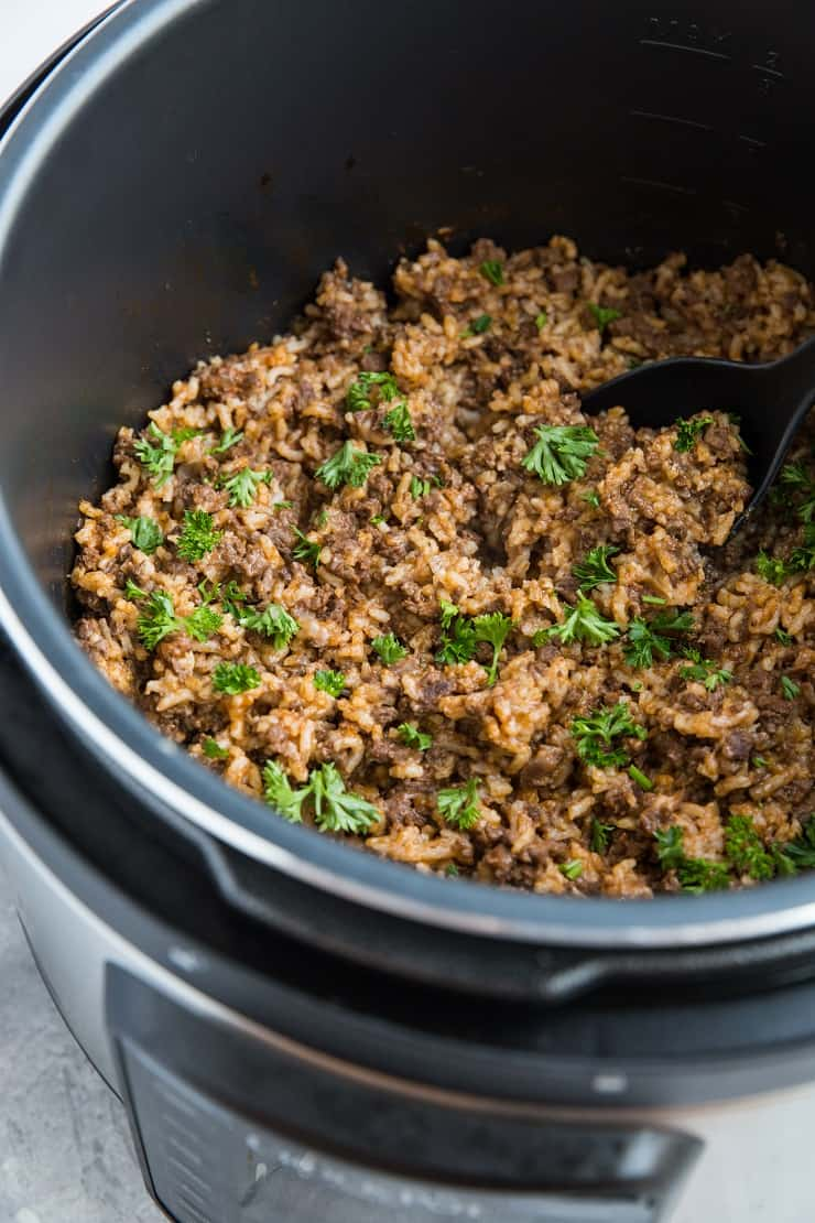 Instant Pot Hamburger Helper with Rice - dairy-free, easy to make and comforting