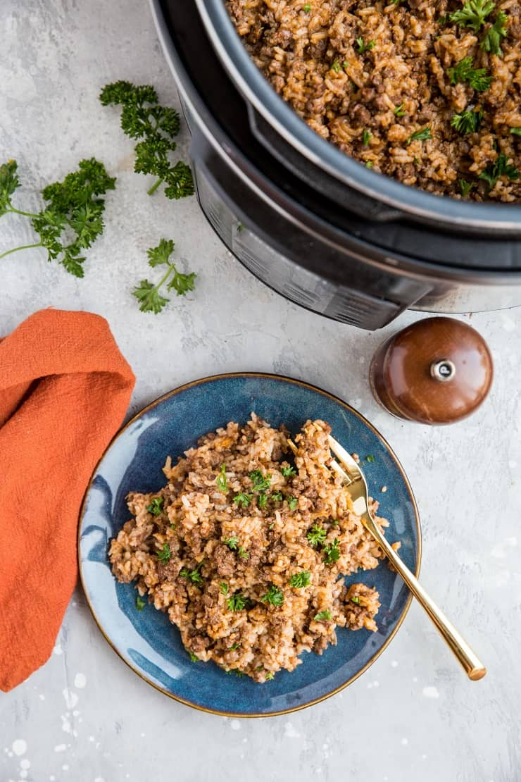 Instant Pot Dairy-Free Homemade Hamburger Helper with Rice - a cleaner version of Hamburger Helper made in the pressure cooker