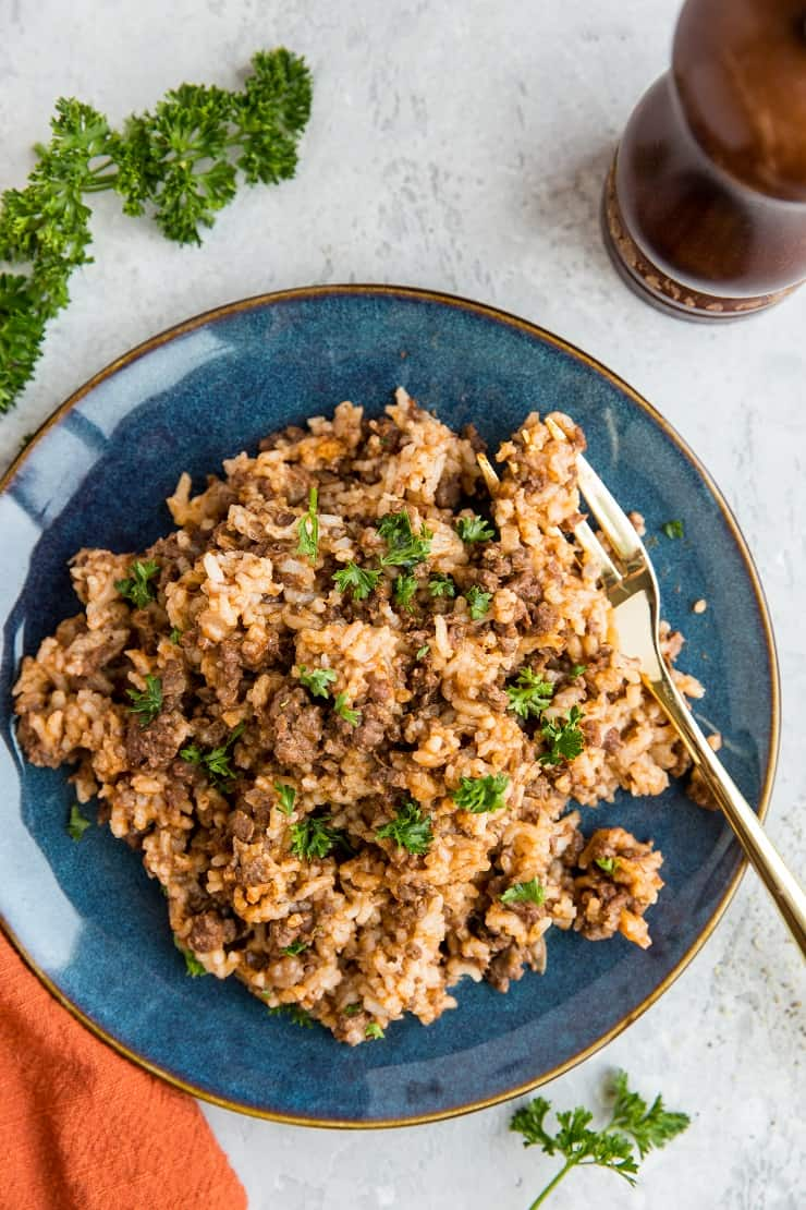Instant Pot Hamburger Helper - Dairy-free hamburger helper with rice made in the pressure cooker. Easy, filling, delicious!