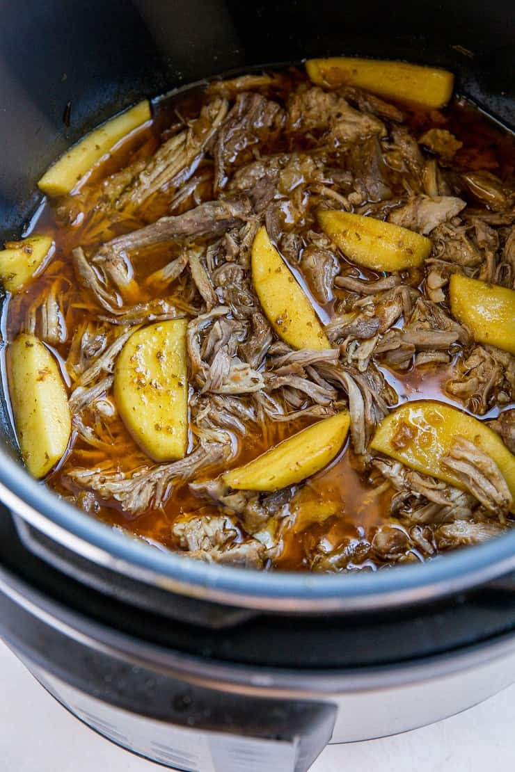 Instant Pot Pulled Pork and Apples - the quickest, easiest recipe for pulled pork