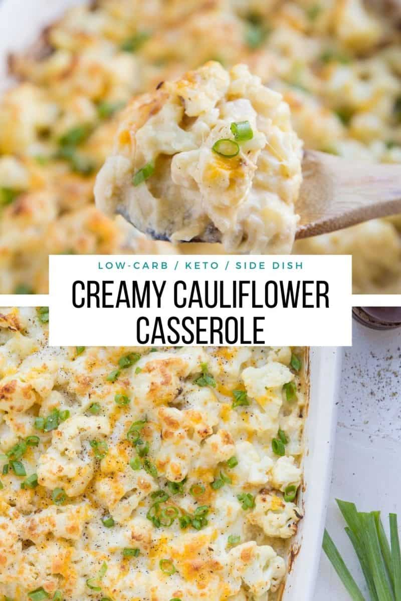 Keto Cauliflower Casserole - a creamy, cheesy delicious low-carb casserole recipe perfect for serving friends and family