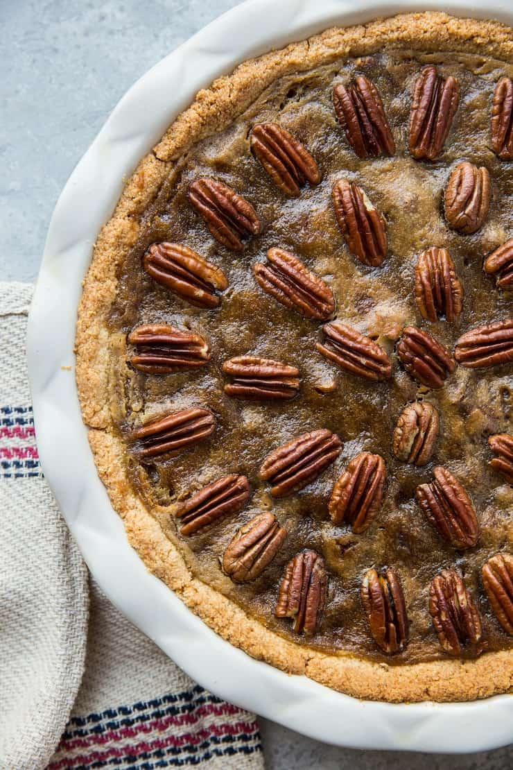 Keto Pecan Pie - sugar-free, dairy-free, low-carb, grain-free, healthy pecan pie recipe
