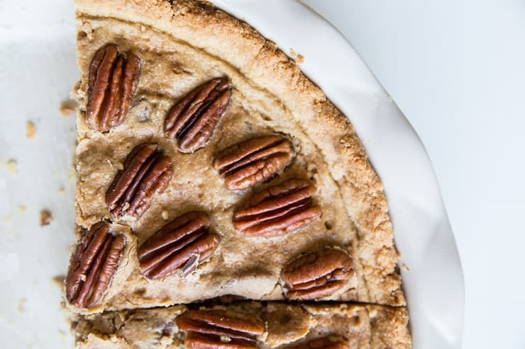 Low-Carb Pecan Pie made grain-free, dairy-free, keto, healthier dessert recipe