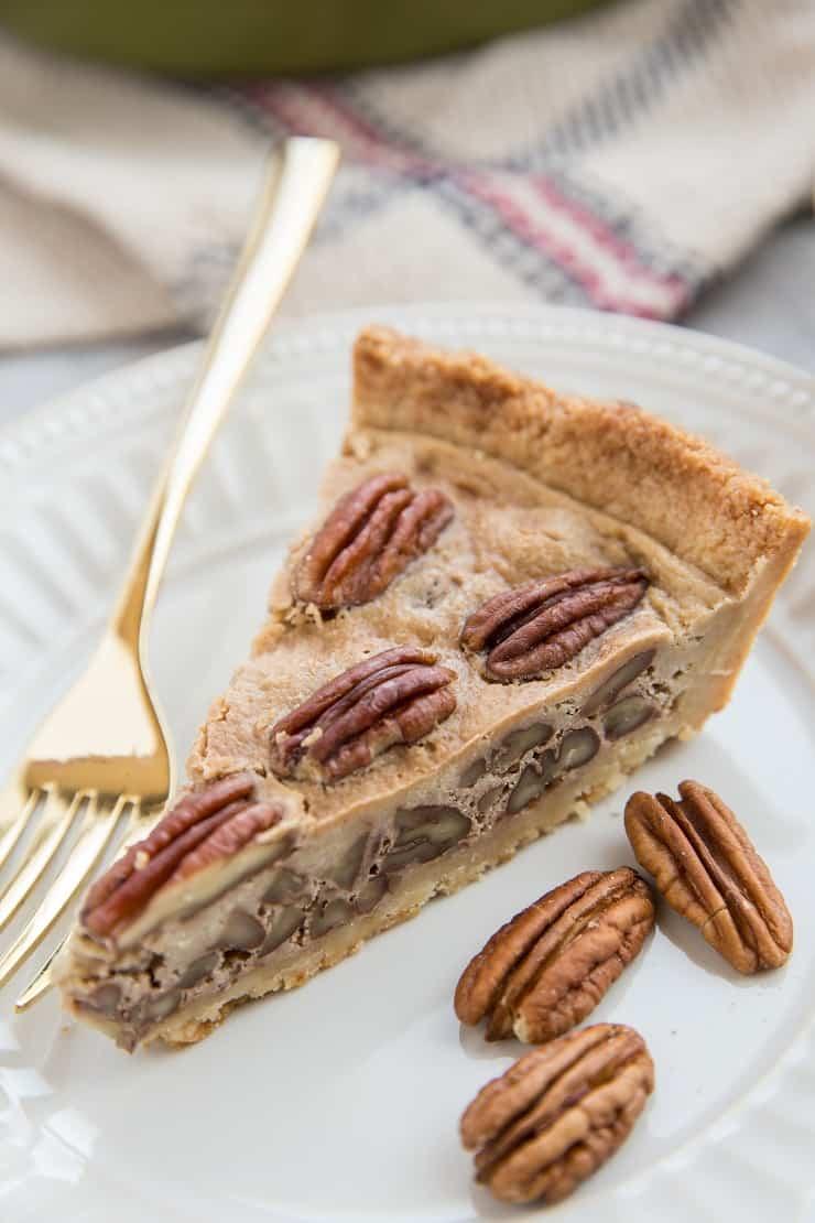 Keto Low-Carb Pecan Pie - sugar-free pecan pie recipe made grain-free, refined sugar-free, dairy-free and delicious