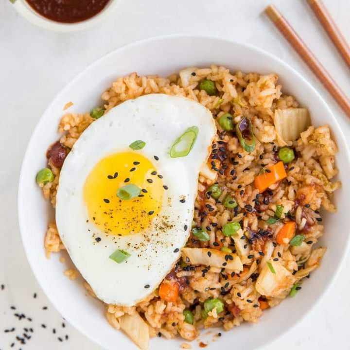 Easy Kimchi Fried Rice - a flavorful Korean side dish